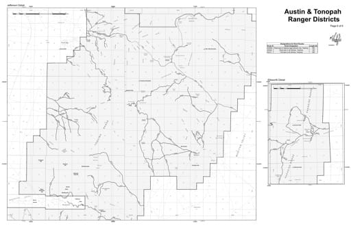 Motor Vehicle Use Map (MVUM) Detail of the Jefferson area in Humboldt-Toiyabe National Forest (NF) in Nevada. Published by the U.S. Forest Service (USFS).