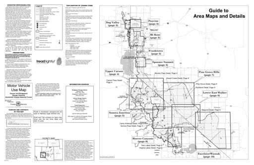 Motor Vehicle Use Map (MVUM) of the Carson and Bridgeport area in Humboldt-Toiyabe National Forest (NF) in Nevada. Published by the U.S. Forest Service (USFS).