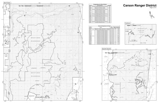 Motor Vehicle Use Map (MVUM) of the Mount Rose Wilderness in Humboldt-Toiyabe National Forest (NF) in Nevada. Published by the U.S. Forest Service (USFS).