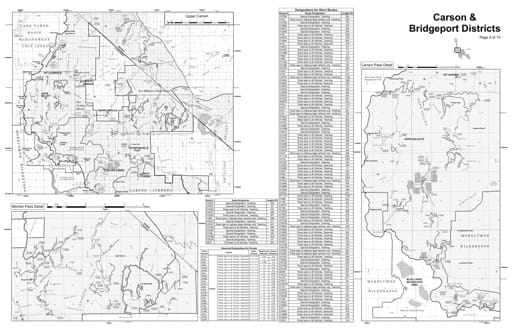 Motor Vehicle Use Map (MVUM) of the Upper Carson area in Humboldt-Toiyabe National Forest (NF) in Nevada. Published by the U.S. Forest Service (USFS).