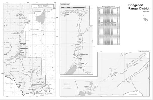 Motor Vehicle Use Map (MVUM) of the Hoover Canyons area in Humboldt-Toiyabe National Forest (NF) in Nevada. Published by the U.S. Forest Service (USFS).