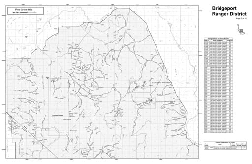 Motor Vehicle Use Map (MVUM) of the Pine Grove Hills area in Humboldt-Toiyabe National Forest (NF) in Nevada. Published by the U.S. Forest Service (USFS).
