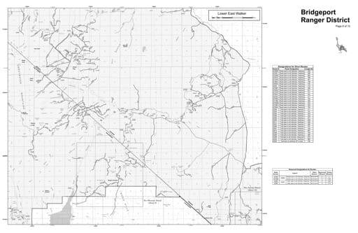 Motor Vehicle Use Map (MVUM) of the Lower East Walker area in Humboldt-Toiyabe National Forest (NF) in Nevada. Published by the U.S. Forest Service (USFS).