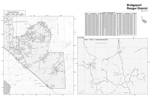 Motor Vehicle Use Map (MVUM) of the Excelsior/Wassuk area in Humboldt-Toiyabe National Forest (NF) in Nevada. Published by the U.S. Forest Service (USFS).