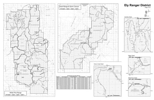 Motor Vehicle Use Map (MVUM) of the White Pine Range area in Humboldt-Toiyabe National Forest (NF) in Nevada. Published by the U.S. Forest Service (USFS).