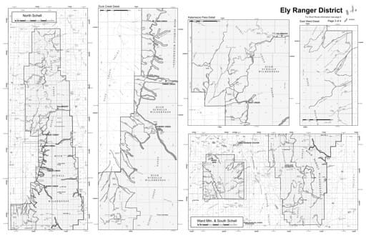 Motor Vehicle Use Map (MVUM) Detail of the Duck Creek area in Humboldt-Toiyabe National Forest (NF) in Nevada. Published by the U.S. Forest Service (USFS).