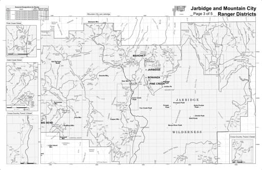 Motor Vehicle Use Map (MVUM) of the Mountain City & Jarbidge area in Humboldt-Toiyabe National Forest (NF) in Nevada. Published by the U.S. Forest Service (USFS).