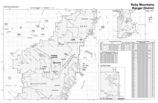 Motor Vehicle Use Map (MVUM) of the North Ruby Mountains area in Humboldt-Toiyabe National Forest (NF) in Nevada. Published by the U.S. Forest Service (USFS).