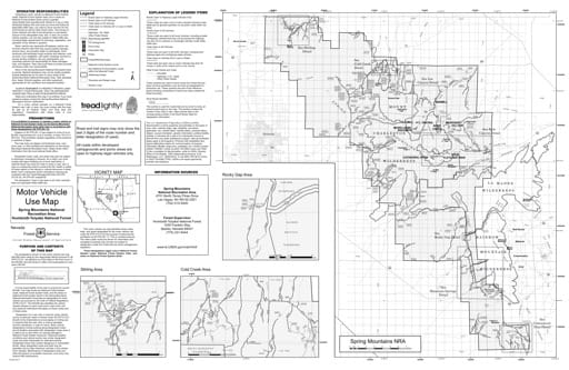 Motor Vehicle Use Map (MVUM) of the Spring Mountains National Recreation Area (NRA) in Humboldt-Toiyabe National Forest (NF) in Nevada. Published by the U.S. Forest Service (USFS).