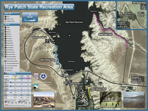Recreation Map of Rye Patch State Recreation Area (SRA) in Nevada. Published by Nevada State Parks.