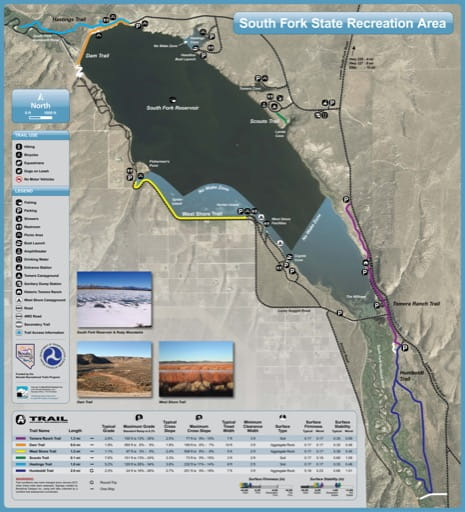 Recreation Map of South Fork State Recreation Area (SRA) in Nevada. Published by Nevada State Parks.