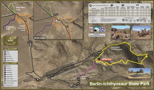 Trails Map of Berlin-Ichthyosaur State Park (SP) in Nevada. Published by the Nevada State Parks.
