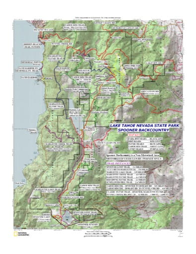 Trails Map of Spooner Lake & Backcountry - Lake Tahoe Nevada State Park (SP) in Nevada. Published by the Nevada State Parks.