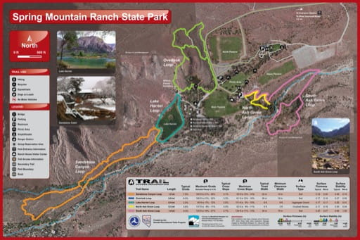 Recreation Map of Spring Mountain Ranch State Park (SP) in Nevada. Published by Nevada State Parks.