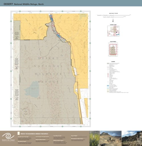 Visitor Map of the northern part of Desert National Wildlife Refuge (NWR) in Nevada. Published by the U.S. Fish and Wildlife Service (USFWS).