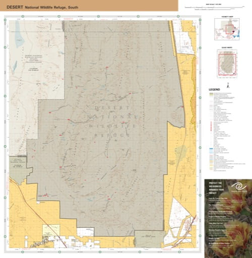 Visitor Map of the southern part of Desert National Wildlife Refuge (NWR) in Nevada. Published by the U.S. Fish and Wildlife Service (USFWS).
