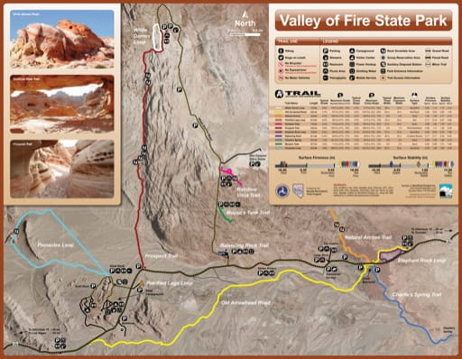 Recreation Map of Valley of Fire State Park (SP) in Nevada. Published by Nevada State Parks.
