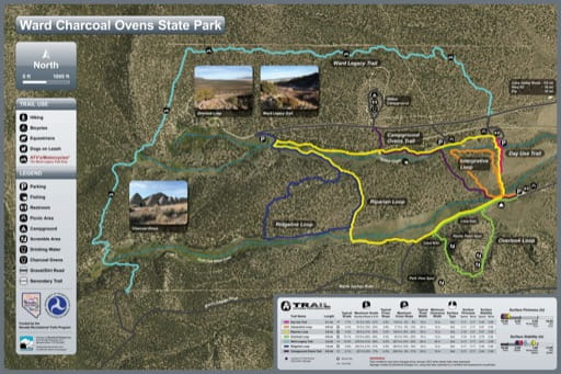 Recreation Map of Ward Charcoal Ovens State Historic Park (SHP) in Nevada. Published by Nevada State Parks.