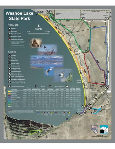 Recreation Map of Washoe Lake State Park (SP) in Nevada. Published by Nevada State Parks.