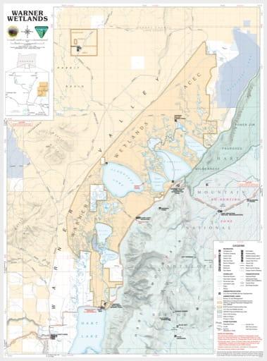 Recreation Map of Warner Wetlands Wilderness in Oregon. Published by the Bureau of Land Management (BLM).