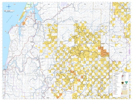 Southern part ofthe Coos Bay Trasportation Systrem Map in the BLM Umpqua Field Office area in Oregon. Published by the Bureau of Land Management (BLM).