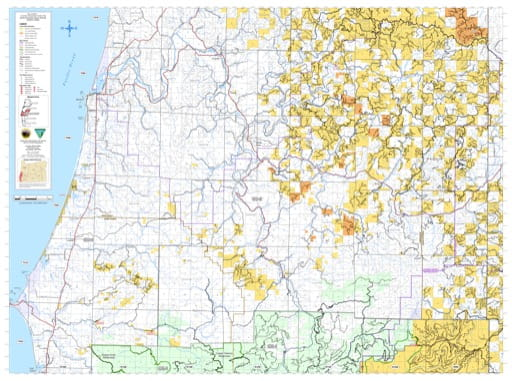 Northern part of the Coos Bay Trasportation Systrem Map in the BLM Myrtlewood Field Office area in Oregon. Published by the Bureau of Land Management (BLM).