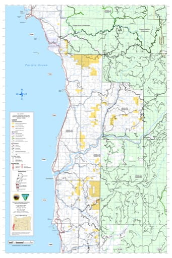 Middle part of the Coos Bay Trasportation Systrem Map in the BLM Myrtlewood Field Office area in Oregon. Published by the Bureau of Land Management (BLM).