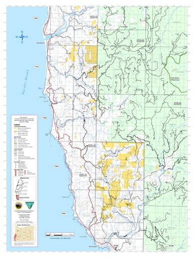 Southern part of the Coos Bay Trasportation Systrem Map in the BLM Myrtlewood Field Office area in Oregon. Published by the Bureau of Land Management (BLM).
