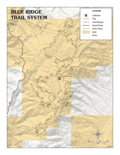 Map of the Blue Ridge Trail System in the BLM Coos Bay District area in Oregon. Published by the Bureau of Land Management (BLM).