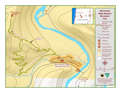Map of Old Growth Ridge National Recreation Trail (NRT) west if Eugene in Oregon. Published by the Bureau of Land Management (BLM).