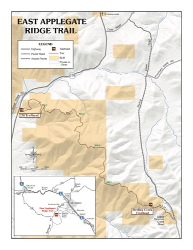 Map of East Applegate Ridge Trail west of Medford in Oregon. Published by the Bureau of Land Management (BLM).