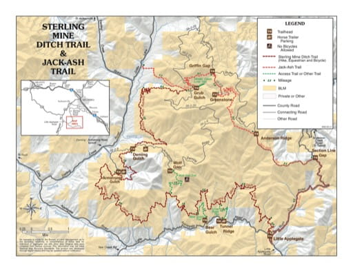 Map of Sterling Mine Ditch Trail & Jack-Ash Trail south of Medford in Oregon. Published by the Bureau of Land Management (BLM).
