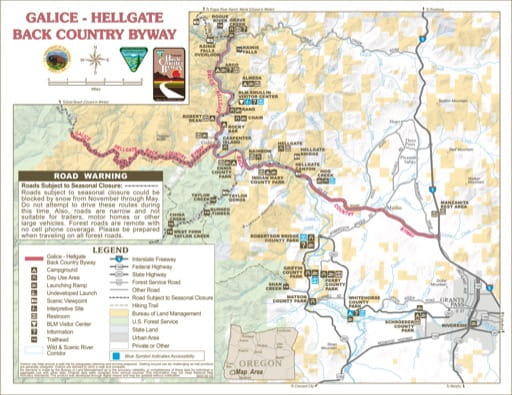 Recreation Map of Galice-Hellgate Back Country Byway in the BLM Medford District area in Oregon. Published by the Bureau of Land Management (BLM).