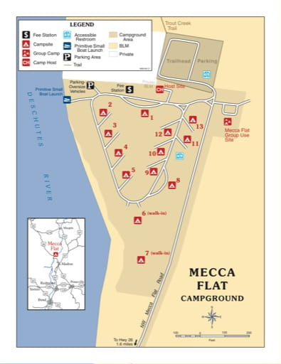 Map of Mecca Flat Campground in the Prineville District Office in Oregon. Published by the Bureau of Land Management (BLM).