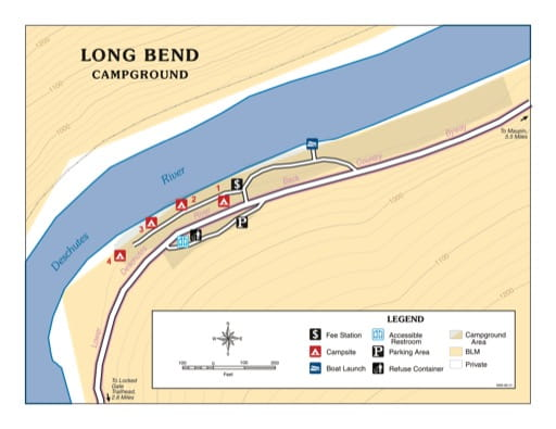 Map of Long Bend Campground in the Prineville District Office in Oregon. Published by the Bureau of Land Management (BLM).
