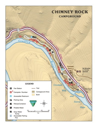 Map of Chimney Rock Campground in the BLM Prineville District in Oregon. Published by the Bureau of Land Management (BLM).