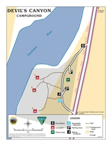 Map of Devil's Canyon Campground in the BLM Prineville District in Oregon. Published by the Bureau of Land Management (BLM).