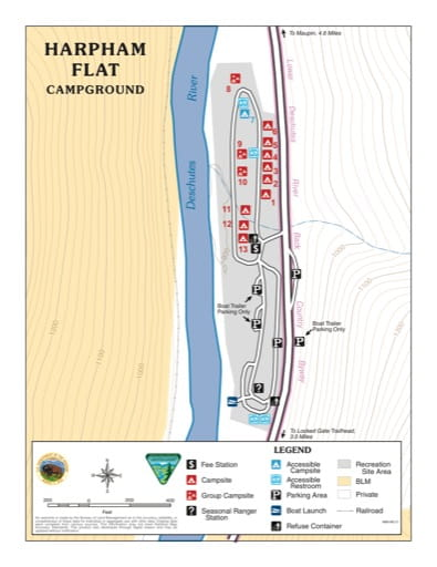 Map of Harpham Flat Campground in the BLM Prineville District in Oregon. Published by the Bureau of Land Management (BLM).