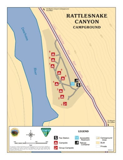 Map of Rattlesnake Canyon Campground in the BLM Prineville District in Oregon. Published by the Bureau of Land Management (BLM).