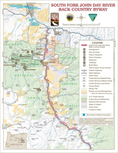 Recreation Map of South Fork John Day Back Country Byway in the BLM Prineville District area in Oregon. Published by the Bureau of Land Management (BLM).
