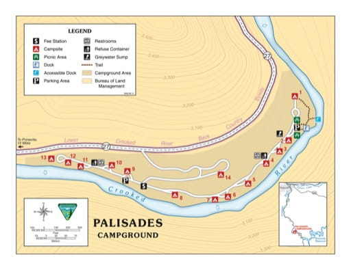 Campground Map of Palisades Campground along the Crooked River in the BLM Prineville District area in Oregon. Published by the Bureau of Land Management (BLM).