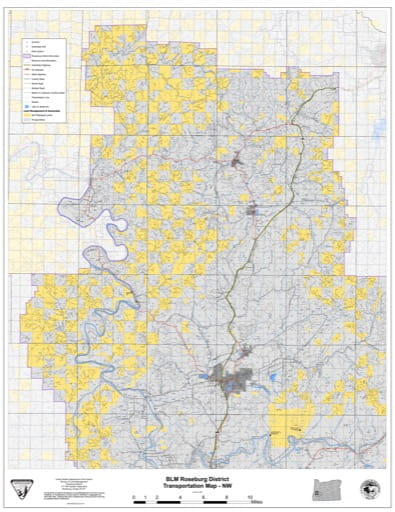 Transportation Map of the Northwestern part of the BLM Roseburg District in Oregon. Published by the Bureau of Land Management (BLM).