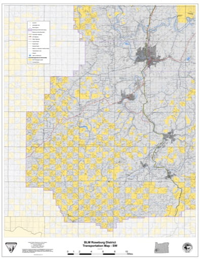 Transportation Map of the Southwestern part of the BLM Roseburg District in Oregon. Published by the Bureau of Land Management (BLM).