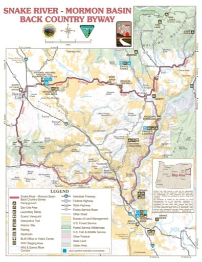 Map of Snake River - Mormon Basin Back Country Byway in Vale District Office in Oregon. Published by the Bureau of Land Management (BLM).