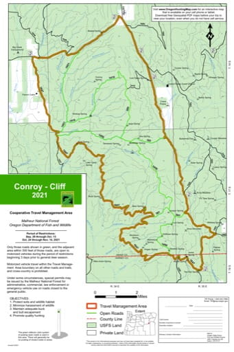 Motor Vehicle Travel Map (MVTM) of Conroy-Cliff in Malheur National Forest (NF) in Oregon. Published by the U.S. Forest Service (USFS).