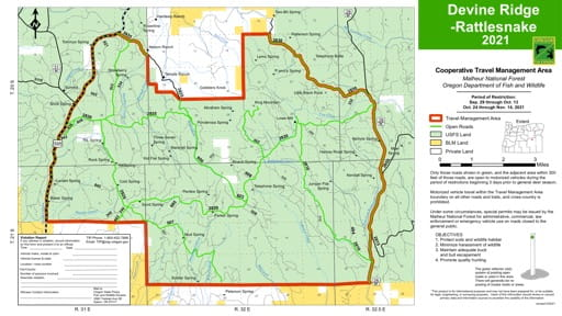 Motor Vehicle Travel Map (MVTM) of Devine Ridge-Rattlesnake in Malheur National Forest (NF) in Oregon. Published by the U.S. Forest Service (USFS).