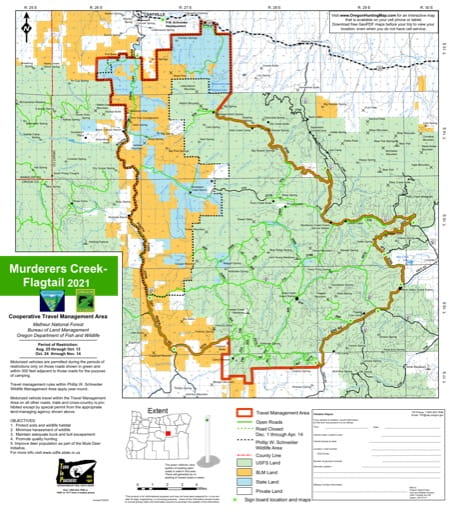Motor Vehicle Travel Map (MVTM) of Murderers Creek-Flagtail in Malheur National Forest (NF) in Oregon. Published by the U.S. Forest Service (USFS).