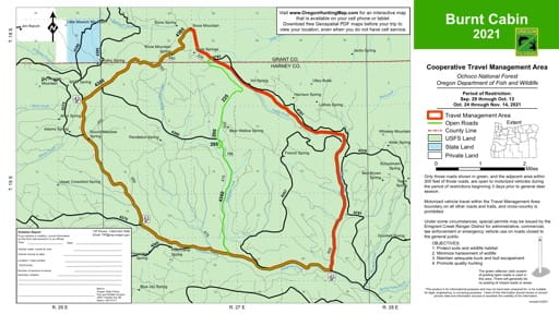 Motor Vehicle Travel Map (MVTM) of Burnt Cabin in Ochoco National Forest (NF) in Oregon. Published by the U.S. Forest Service (USFS).