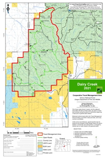 Motor Vehicle Travel Map (MVTM) of Dairy Creek in Ochoco National Forest (NF) in Oregon. Published by the U.S. Forest Service (USFS).