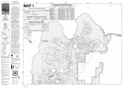 Map 1 of the Motor Vehicle Use Map (MVUM) of Deschutes National Forest (NF) in Oregon. Published by the U.S. Forest Service (USFS).
